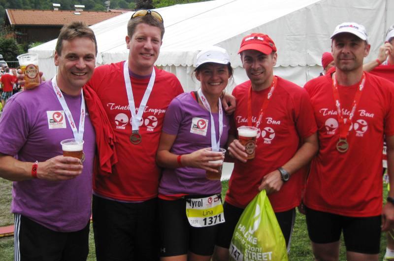 Triathlon Buam und Truppm im Ziel