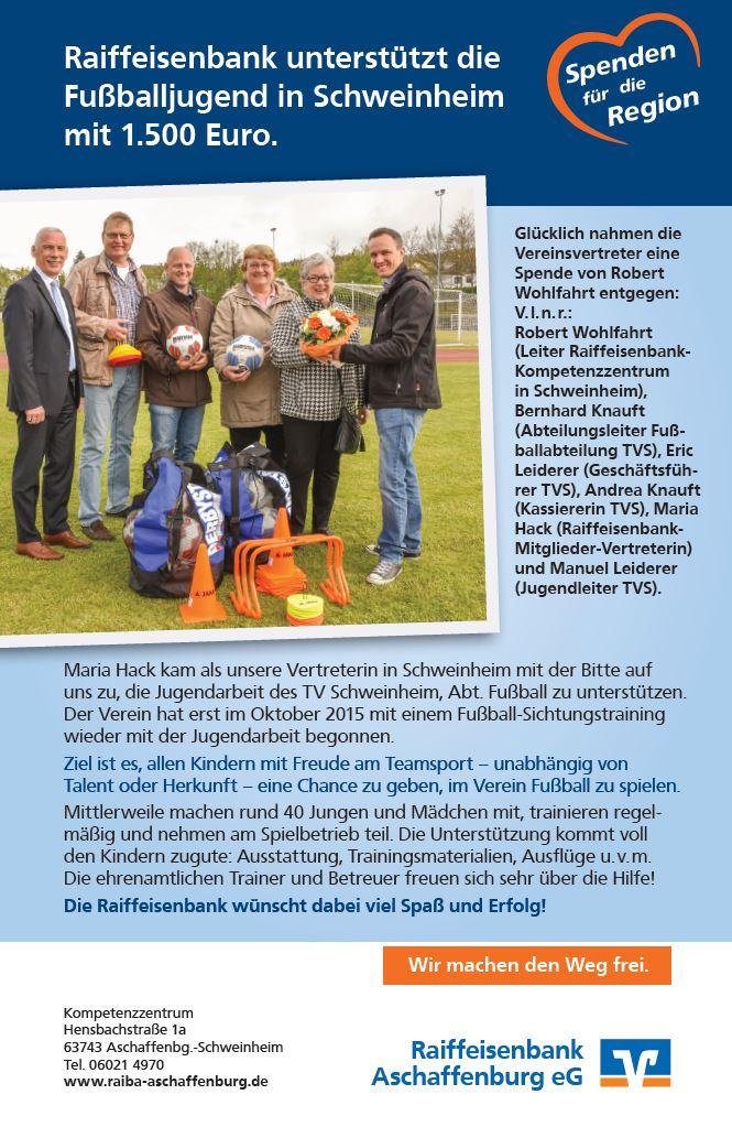 TV Schweinheim - Raiffeisenbank unterstützt die Fußballjugend in Schweinheim mit 1.500 Euro