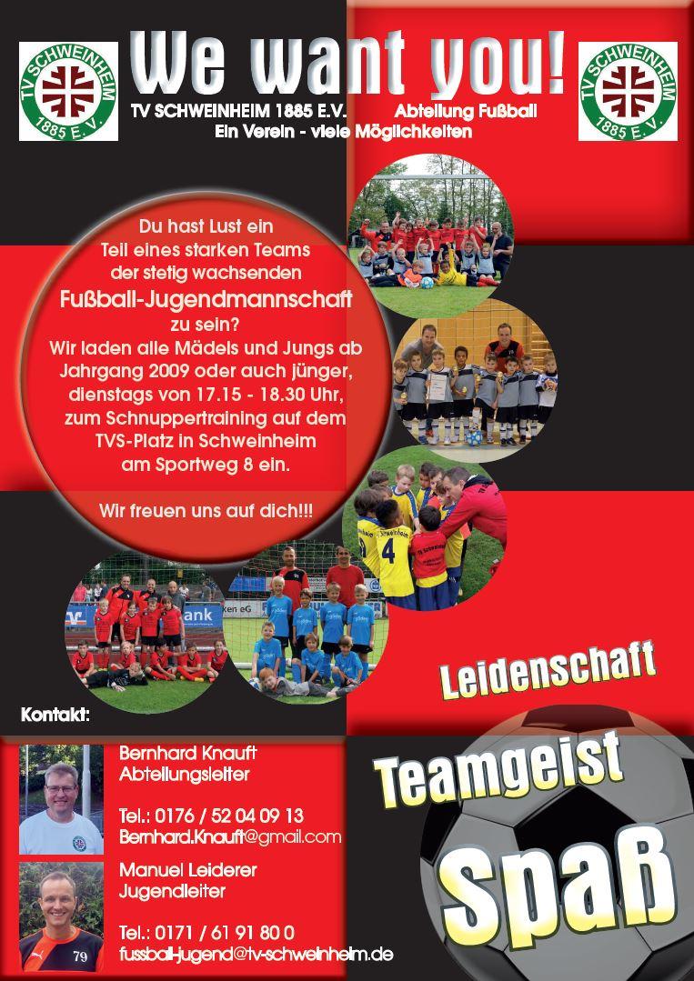 Flyer TV Schweinheim Fußball - We want you - Nachwuchs gesucht